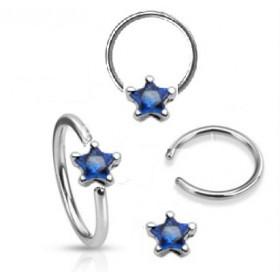 Anneaux de piercing 1.6mm motif étoile cristal de couleur bleu foncé pour nombril téton et piercing intime féminin