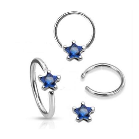 Anneaux piercing 1.6mm étoile cristal Bleu