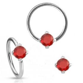 Anneaux piercing diamètre 1.6mm solitaire cristal couleur rouge pour piercing nombril, piercing téton, piercing intime féminin