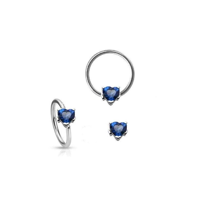 Piercing anneau motif coeur cristal oxyde de zirconium couleur bleu pour piercing nombril piercing téton génital pour femme