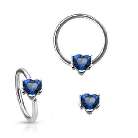 Piercing anneau motif coeur cristal bleu