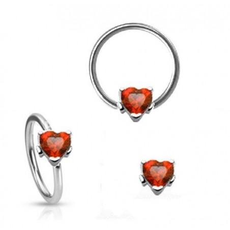 Piercing anneau motif coeur cristal rouge