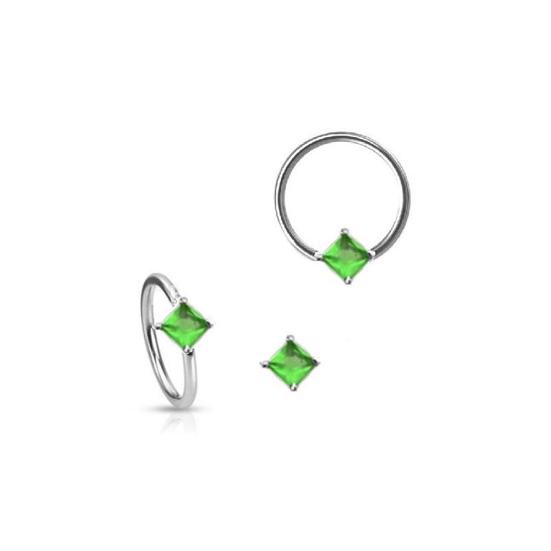 Anneau de piercing en acier chirurgical 1.6mm de diamètre avec cristal vert forme carré pour nombril teton et sexe féminin