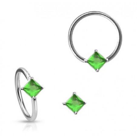Anneau de piercing 1.6mm cristal forme carré vert