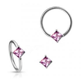 Anneau de piercing en acier chirurgical 1.6mm de diamètre avec cristal rose forme carré pour nombril teton et sexe féminin