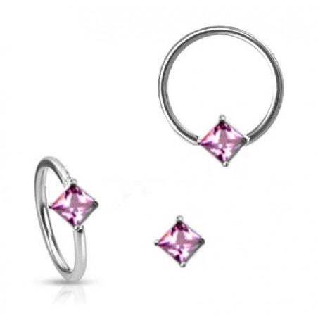 Anneau de piercing 1.6mm cristal forme carré rose