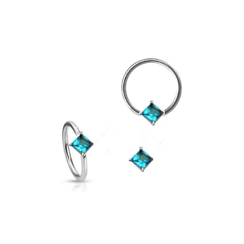 Anneau de piercing en acier chirurgical 1.6mm de diamètre avec cristal turquoise forme carré pour nombril teton et sexe féminin
