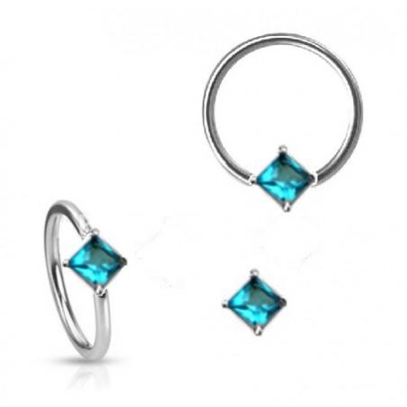 Anneau de piercing 1.6mm cristal forme carré turquoise