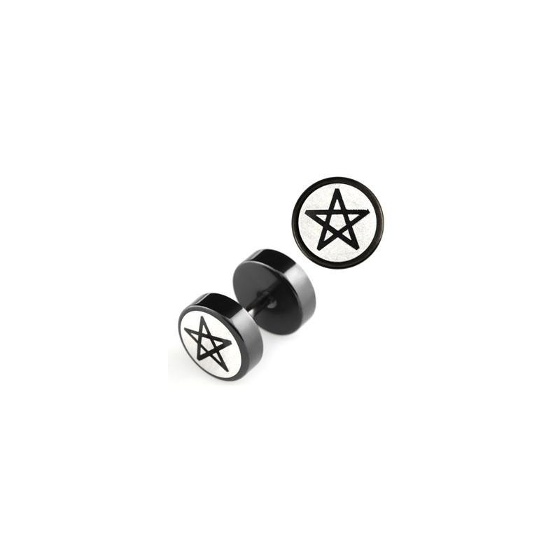 piercing oreille Faux piercing plug écarteur logo pintacle en acier chirurgical noir