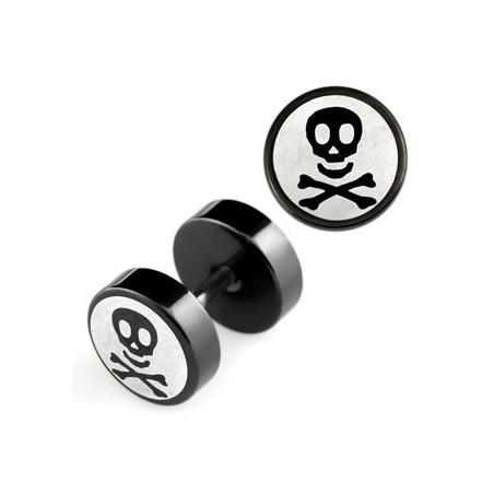 Faux piercing plug tête de mort acier noir