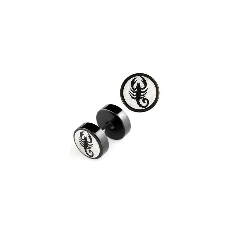 Faux piercing pour oreille imittion plug et écarteur logo scorpion acier noir