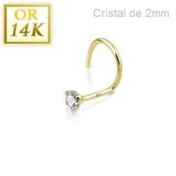 Stud nez 14 carat avec cristal blanc 2mm griffé