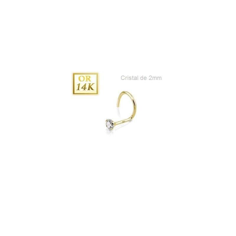 Stud nez courbé en or jaune 14 carat avec cristal blanc 2mm griffé