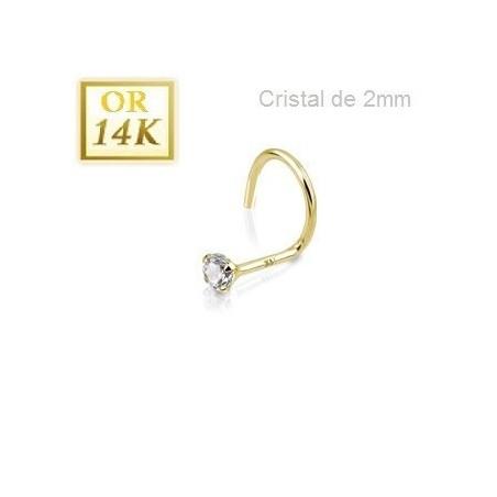 Stud nez 14 carat avec cristal 2mm griffé