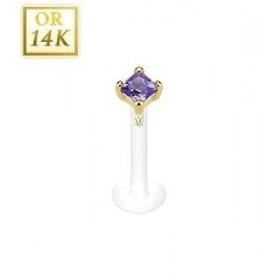 Piercing Labret barre teflon bioflex griff en Or jaune 14 carats Cristal carré couleur violet  2mm