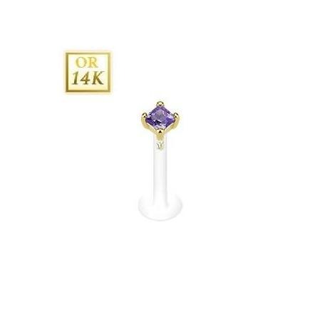 Piercing Labret Or Cristal violet Bioflex 2mm