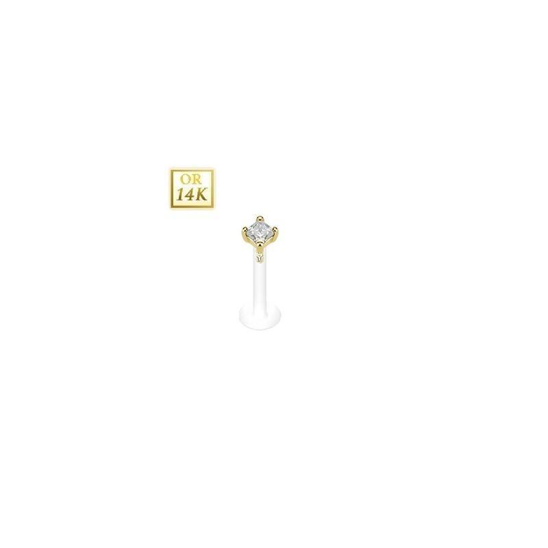Piercing Labret Or or jaune 14 carats chic et discret Cristal blanc griffé berre en Bioflex 2mm