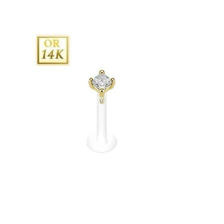 Piercing Labret Or Cristal blanc Bioflex 2mm