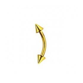 Piercing micro banane d'arcade en titane anodisé couleur or doré motif pointe spike 3mm pas cher