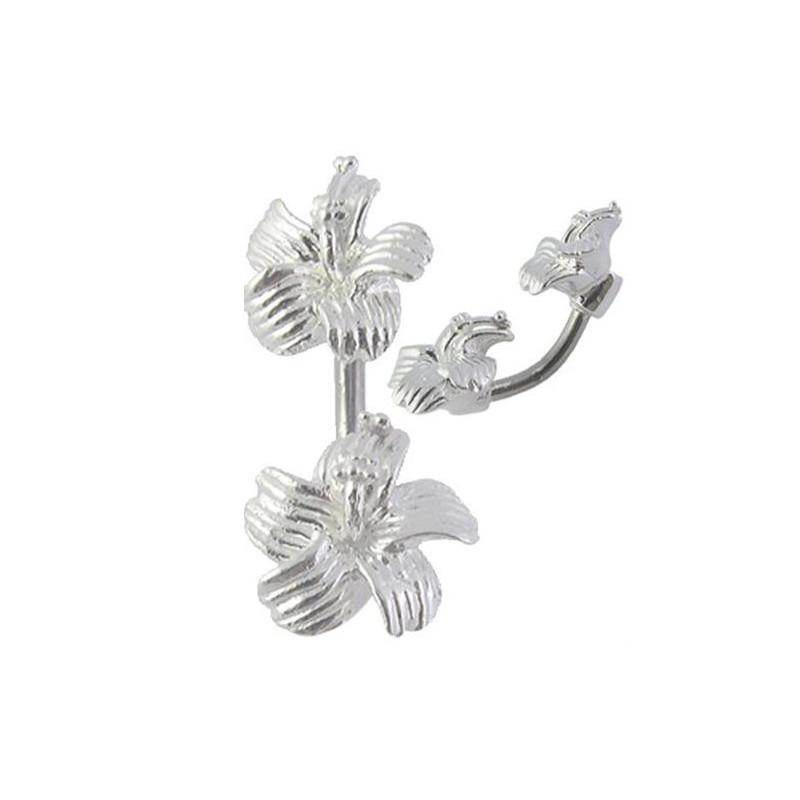 Piercing banane de nombril motif double fleur Hibiscus en argent massif 925 barre titane
