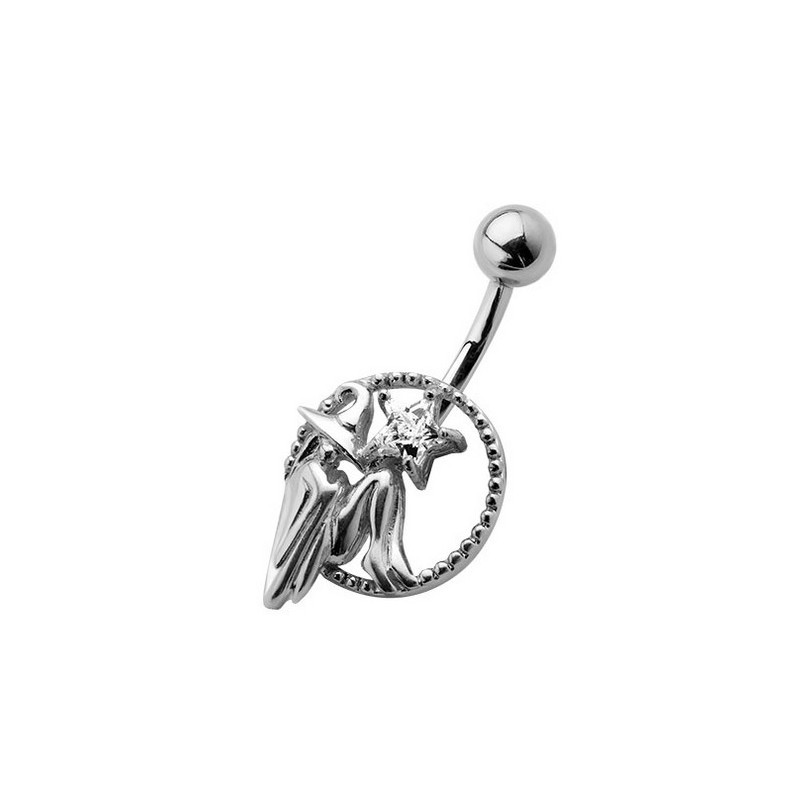 Piercing nombril tout en acier chirurical de qualité motif sorcière étoile cristal blanche pas cher