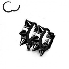 Boucles d'oreille en acier chirurgical motif pointe en acier de couleur noir
