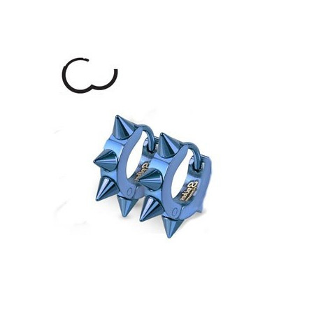 Boucles d'oreille en acier chirurgical motif pointe en acier de couleur bleu