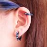 paires de boucles d'oreille anneau acier chirurgical bleu motif pointe