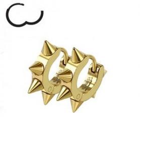 Boucles d'oreille en acier chirurgical motif pointe en acier de couleur or