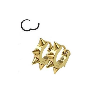 Boucles d'Oreille Spike couleur acier doré