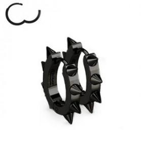 Boucles d'Oreille anneau à clip en acier chirurgical de couleur noir en forme ovale motif pointe rock