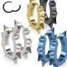 Boucles d'Oreille anneau à clip en acier chirurgical de couleur bleu en forme ovale motif pointe rock