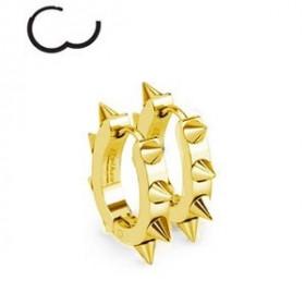 Boucles d'Oreille anneau à clip en acier chirurgical doré de couleur or en forme ovale motif pointe rock
