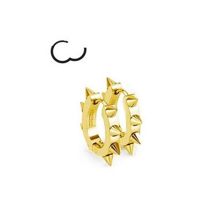 Boucles d'Oreille anneau à clip en acier chirurgical doré