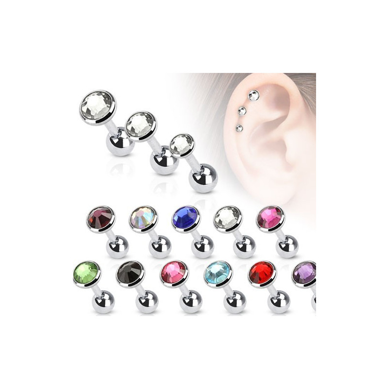 Piercing Oreille Simple Cristal Blanc en acier chirurgical