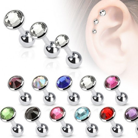 Piercing Oreille Simple Cristal