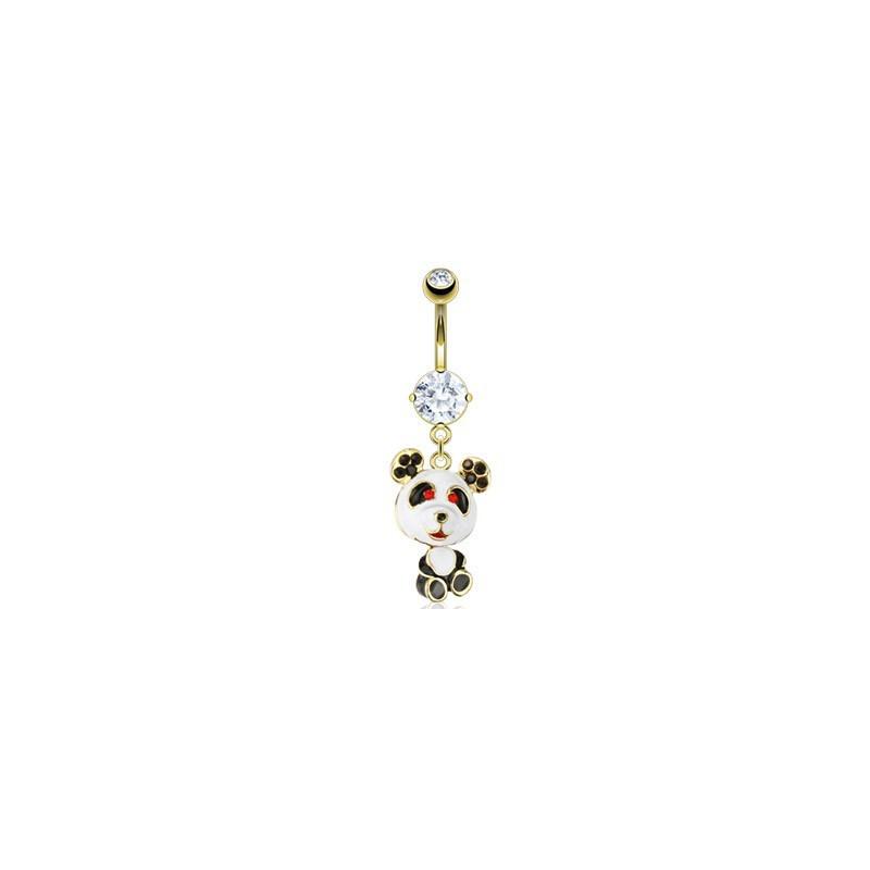 Piercing nombril en plaqué or pendentif panda mignon