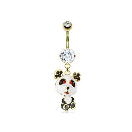 Piercing nombril plaqué or panda