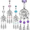 Piercing nombril pendentif attrape-rêve acier chirurgical double cristal