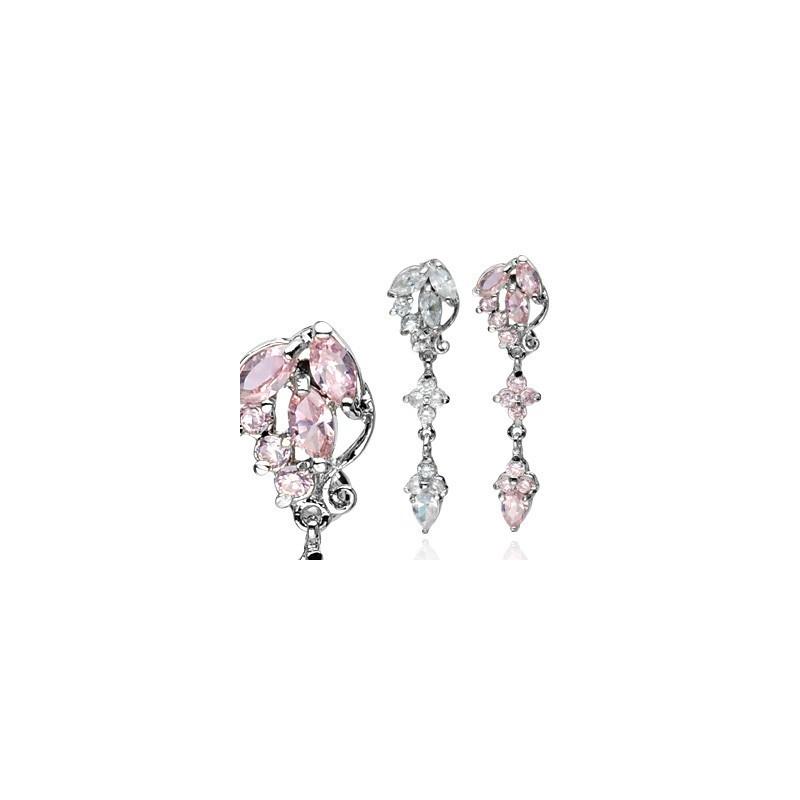 Piercing nombril acier chirurgica l316L motif fleur rivière inversé cristal blanc motif fleur