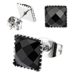 Boucle d'oreille carrée Onyx noir