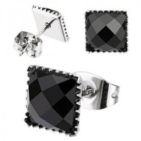 Boucle d'oreille rock carrée Onyx noir en acier chirurgical 316l pour homme