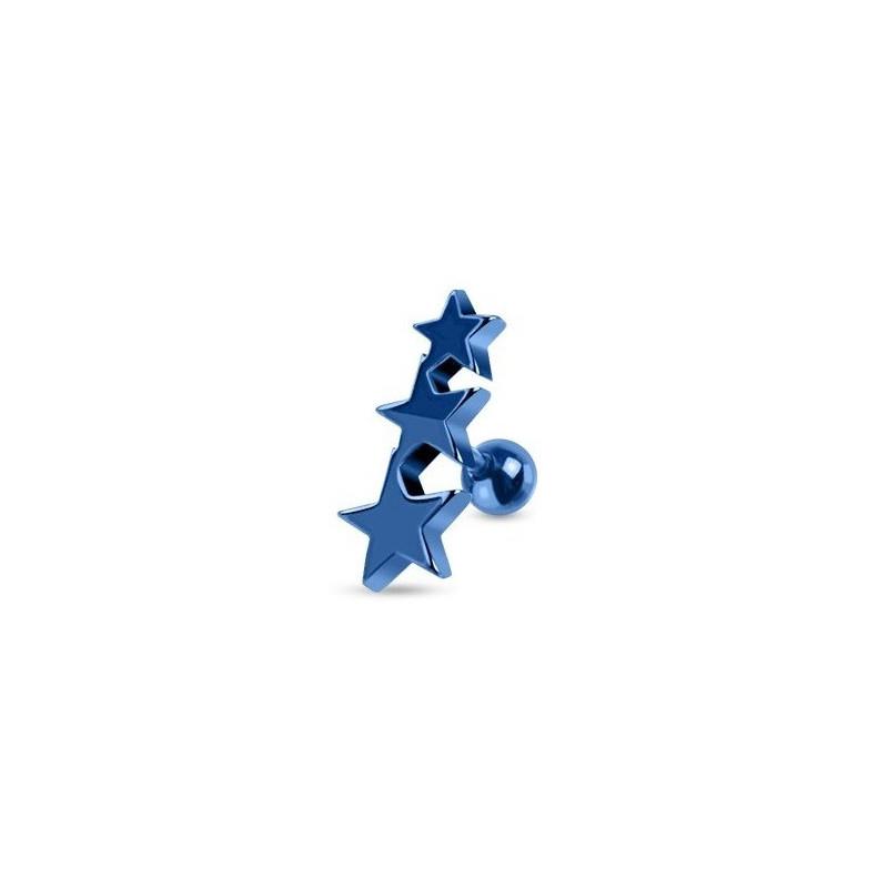 Piercing oreille Triple étoiles en acier chirurgical de couleur bleu pour le piercing tragus, piercing hélix et cartillage
