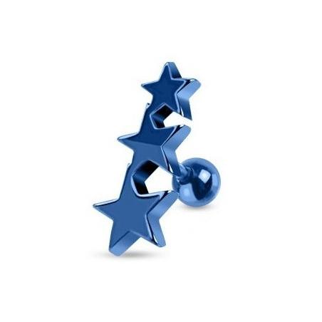 Piercing oreille Triple étoiles bleu