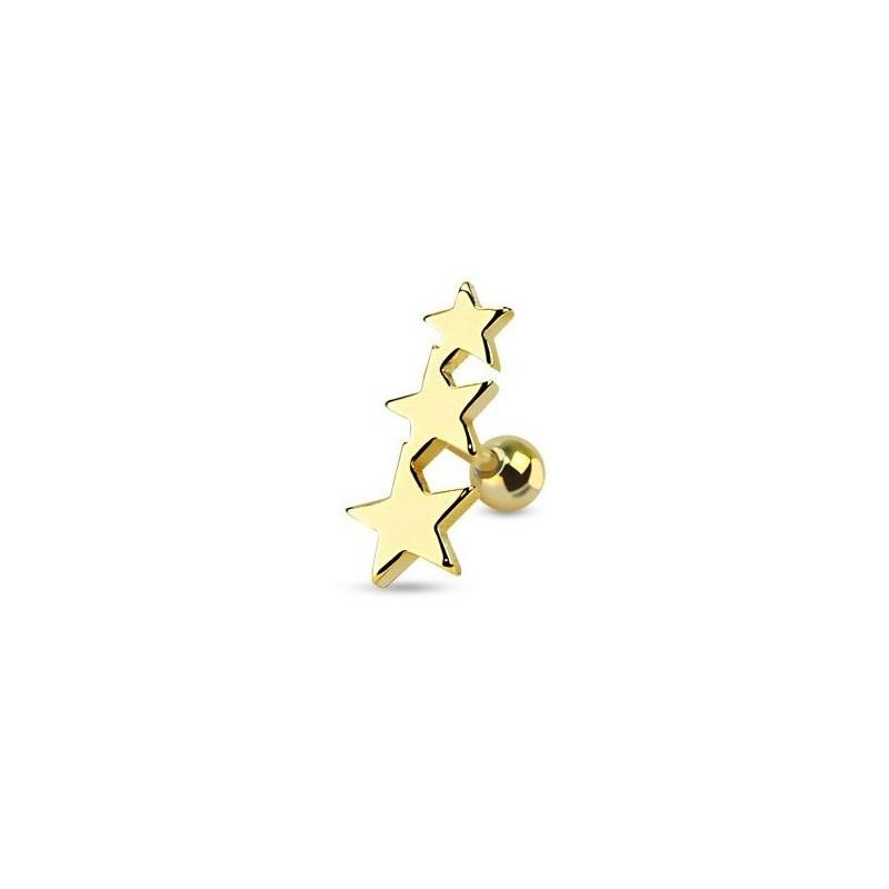 Piercing oreille Triple étoiles en acier chirurgical de couleur or pour le piercing tragus, piercing hélix et cartillage