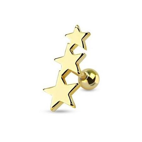 Piercing oreille Triple étoiles acier couleur or