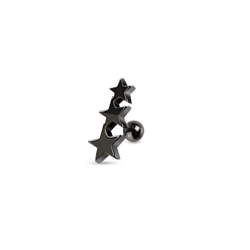 Piercing oreille Triple étoiles en acier chirurgical de couleur noir pour le piercing tragus, piercing hélix et cartillage