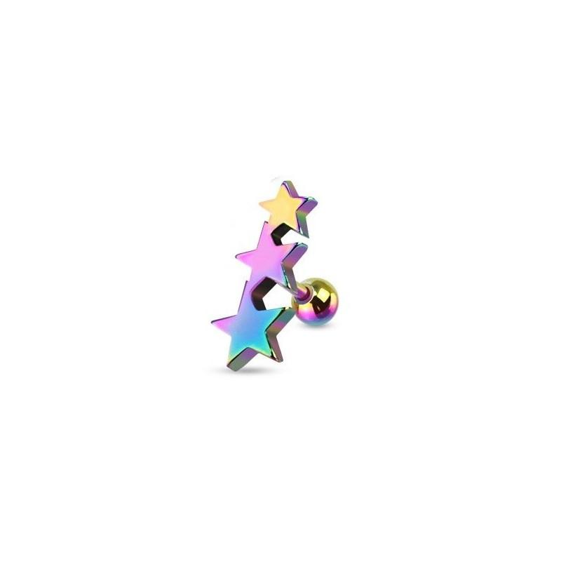 Piercing oreille Triple étoiles en acier chirurgical de couleur essence pour le piercing tragus, piercing hélix et cartillage