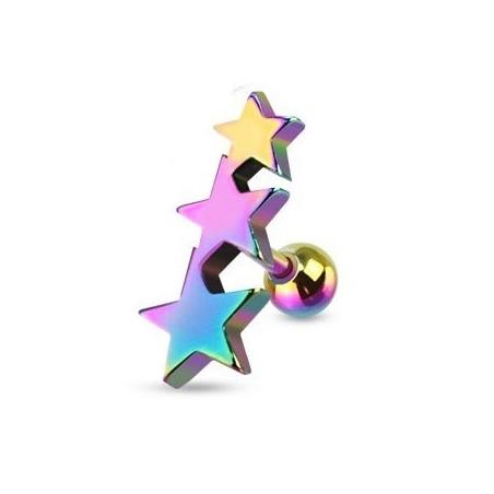 Piercing oreille Triple étoiles acier couleur essence