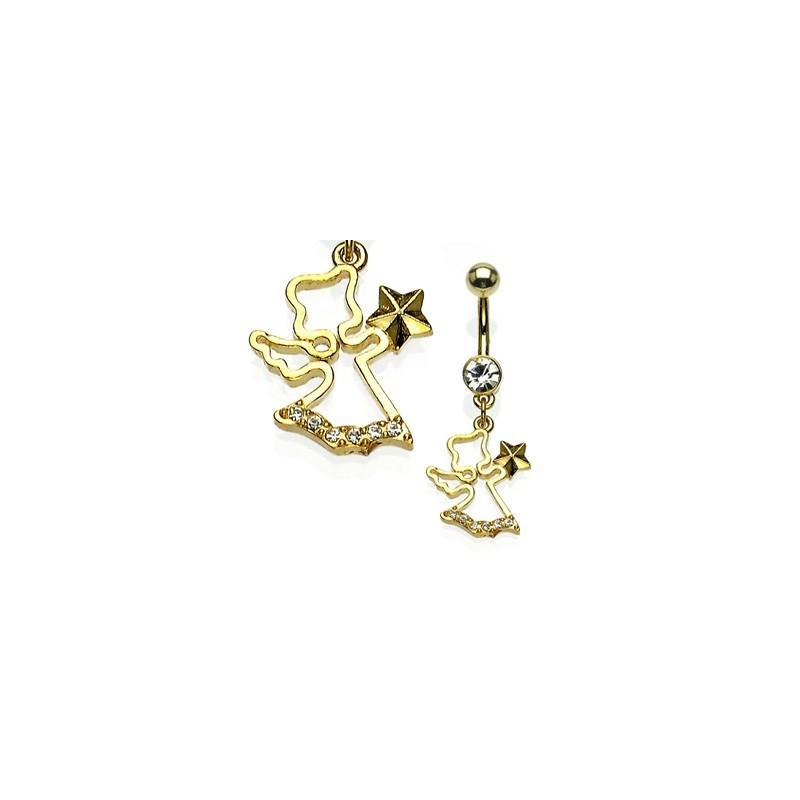Piercing nombril pendentif Plaqué or motif Ange des neige avec étoile